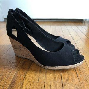 Black and cork wedge heels